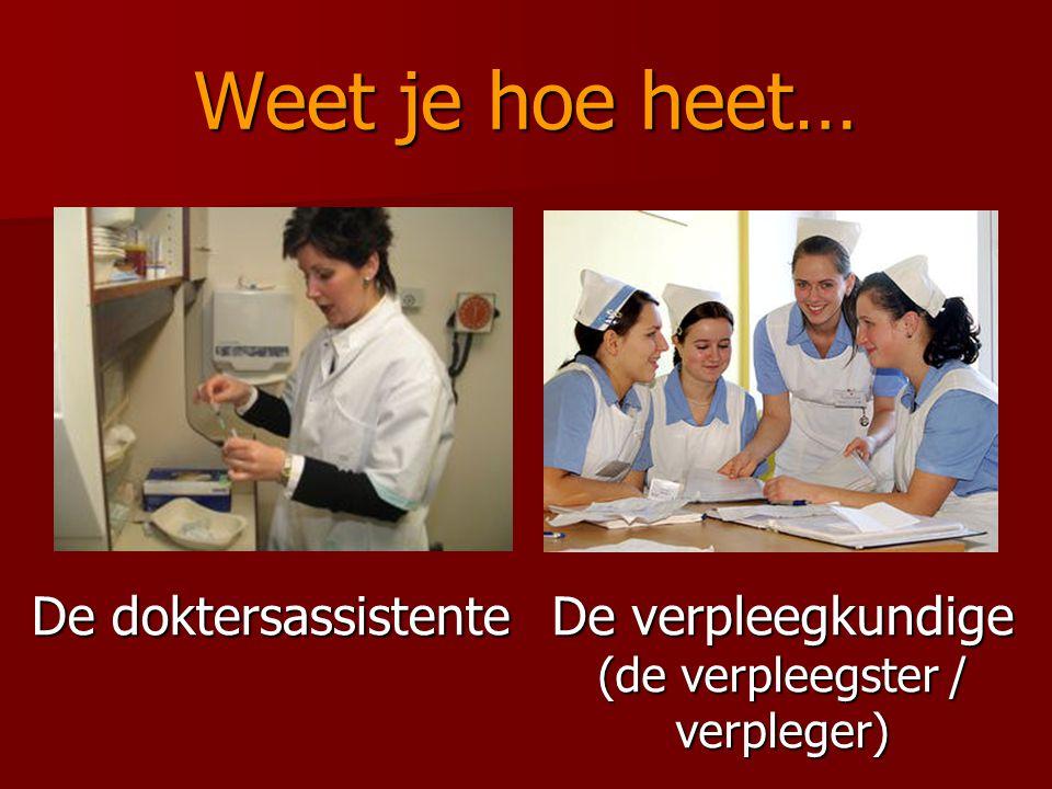 Weet je hoe heet… De doktersassistente De verpleegkundige (de verpleegster / verpleger)