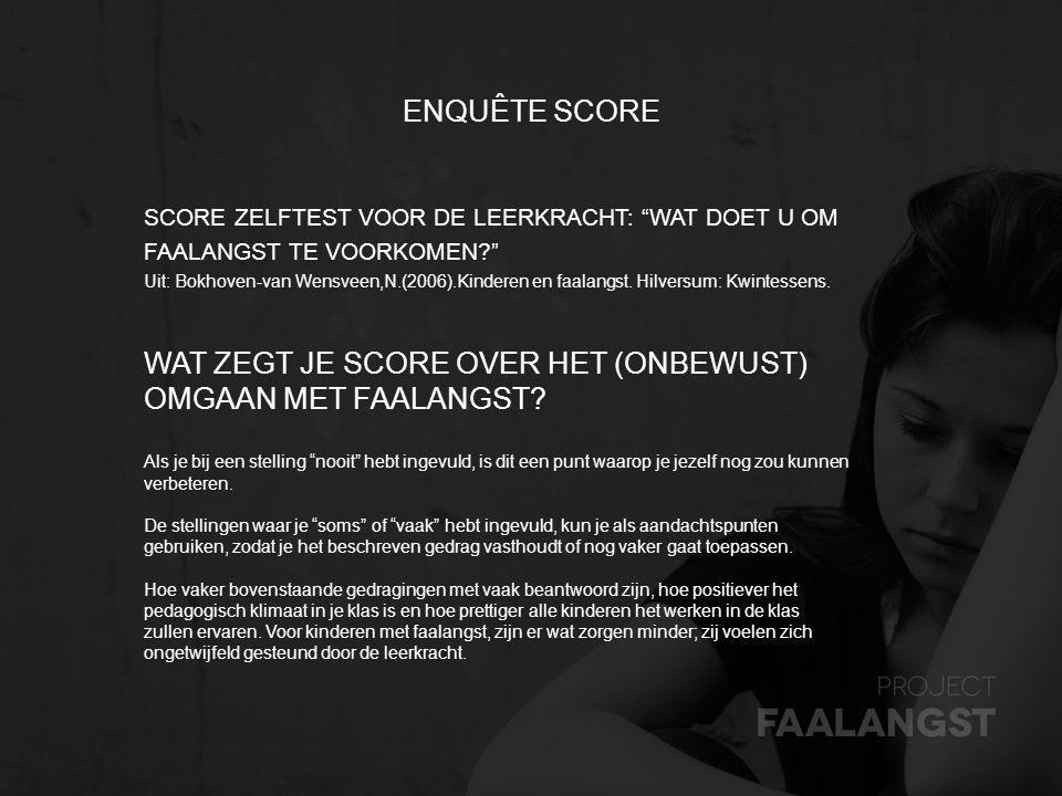 """ENQUÊTE SCORE SCORE ZELFTEST VOOR DE LEERKRACHT: """"WAT DOET U OM FAALANGST TE VOORKOMEN?"""" Uit: Bokhoven-van Wensveen,N.(2006).Kinderen en faalangst. Hi"""