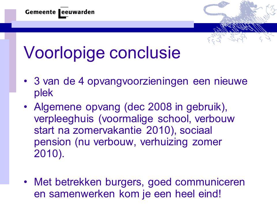 Voorlopige conclusie 3 van de 4 opvangvoorzieningen een nieuwe plek Algemene opvang (dec 2008 in gebruik), verpleeghuis (voormalige school, verbouw start na zomervakantie 2010), sociaal pension (nu verbouw, verhuizing zomer 2010).