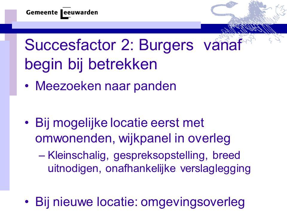 Succesfactor 2: Burgers vanaf begin bij betrekken Meezoeken naar panden Bij mogelijke locatie eerst met omwonenden, wijkpanel in overleg –Kleinschalig, gespreksopstelling, breed uitnodigen, onafhankelijke verslaglegging Bij nieuwe locatie: omgevingsoverleg