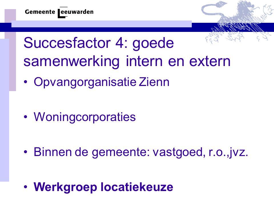 Succesfactor 4: goede samenwerking intern en extern Opvangorganisatie Zienn Woningcorporaties Binnen de gemeente: vastgoed, r.o.,jvz.