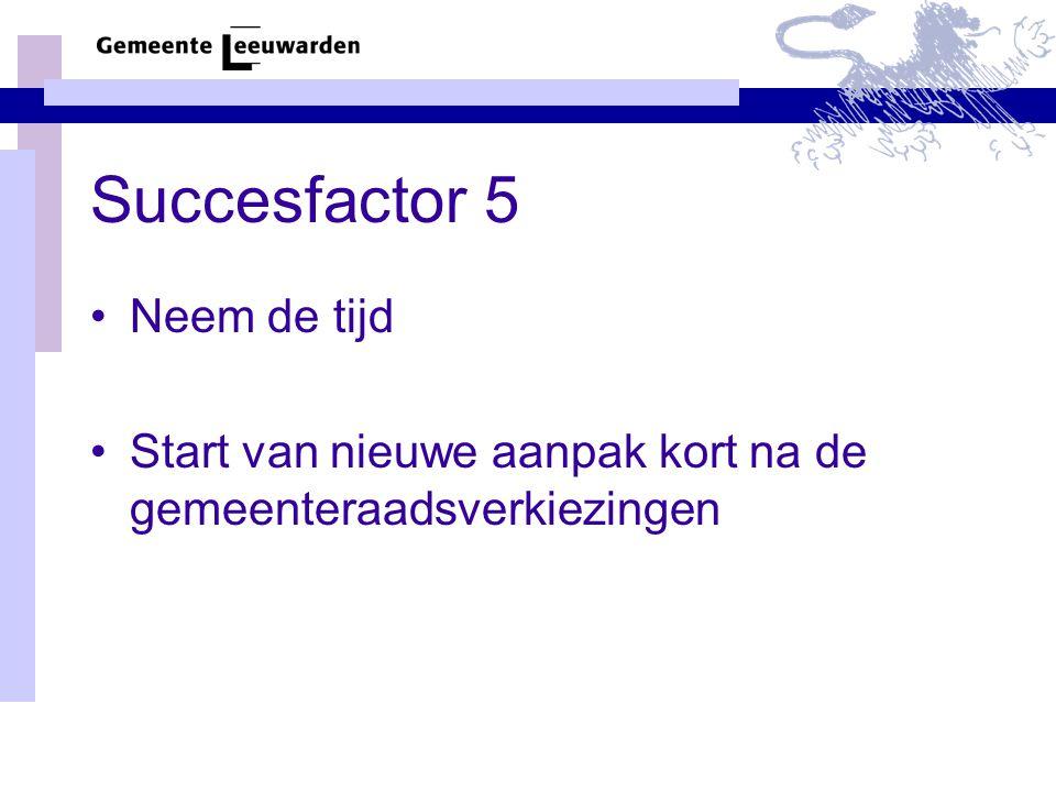 Succesfactor 5 Neem de tijd Start van nieuwe aanpak kort na de gemeenteraadsverkiezingen