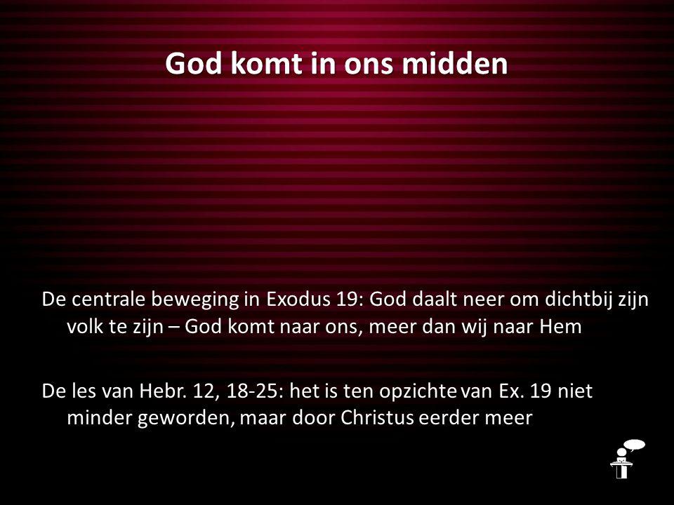 God komt in ons midden De centrale beweging in Exodus 19: God daalt neer om dichtbij zijn volk te zijn – God komt naar ons, meer dan wij naar Hem De les van Hebr.