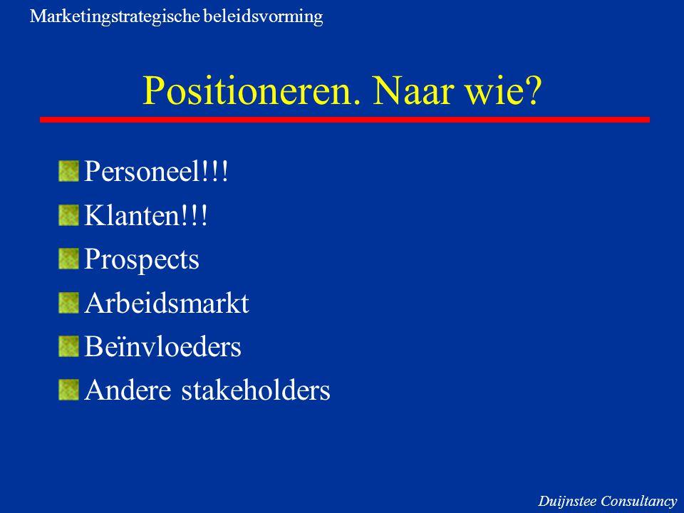 Positioneren. Naar wie? Personeel!!! Klanten!!! Prospects Arbeidsmarkt Beïnvloeders Andere stakeholders Marketingstrategische beleidsvorming Duijnstee