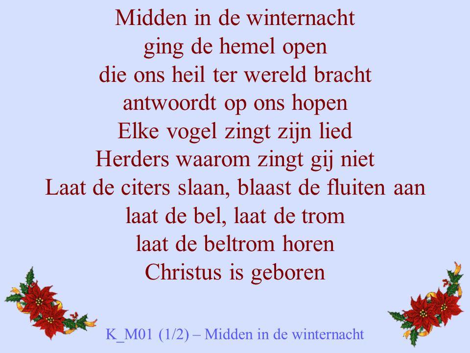Midden in de winternacht ging de hemel open die ons heil ter wereld bracht antwoordt op ons hopen Elke vogel zingt zijn lied Herders waarom zingt gij