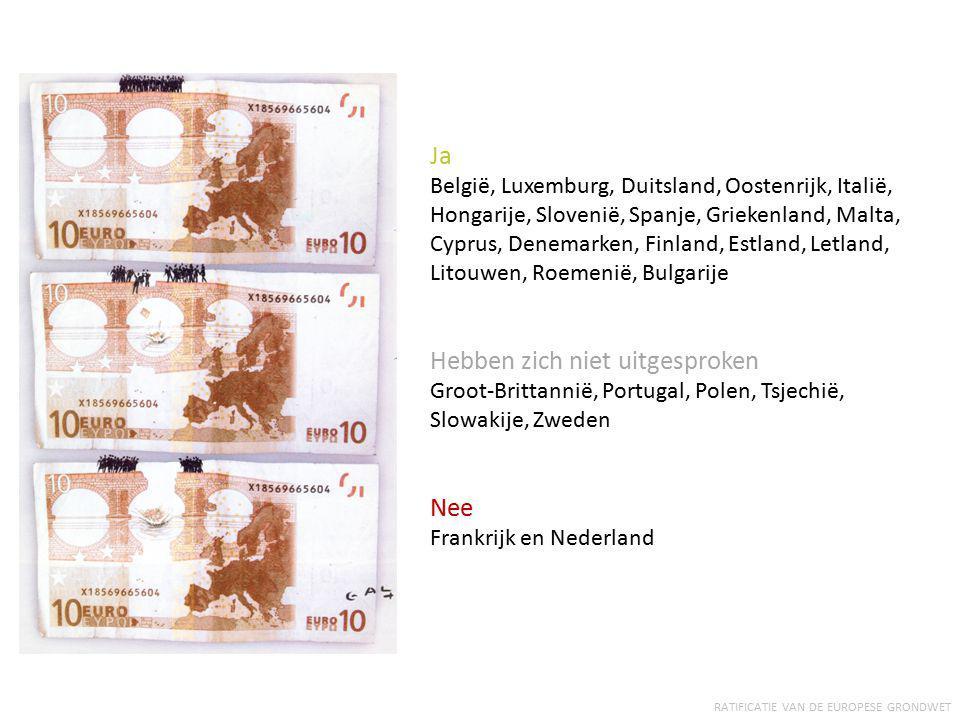 RATIFICATIE VAN DE EUROPESE GRONDWET Ja België, Luxemburg, Duitsland, Oostenrijk, Italië, Hongarije, Slovenië, Spanje, Griekenland, Malta, Cyprus, Den