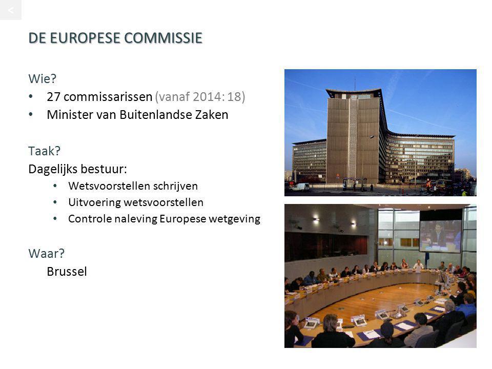DE EUROPESE COMMISSIE Wie? 27 commissarissen (vanaf 2014: 18) Minister van Buitenlandse Zaken Taak? Dagelijks bestuur: Wetsvoorstellen schrijven Uitvo