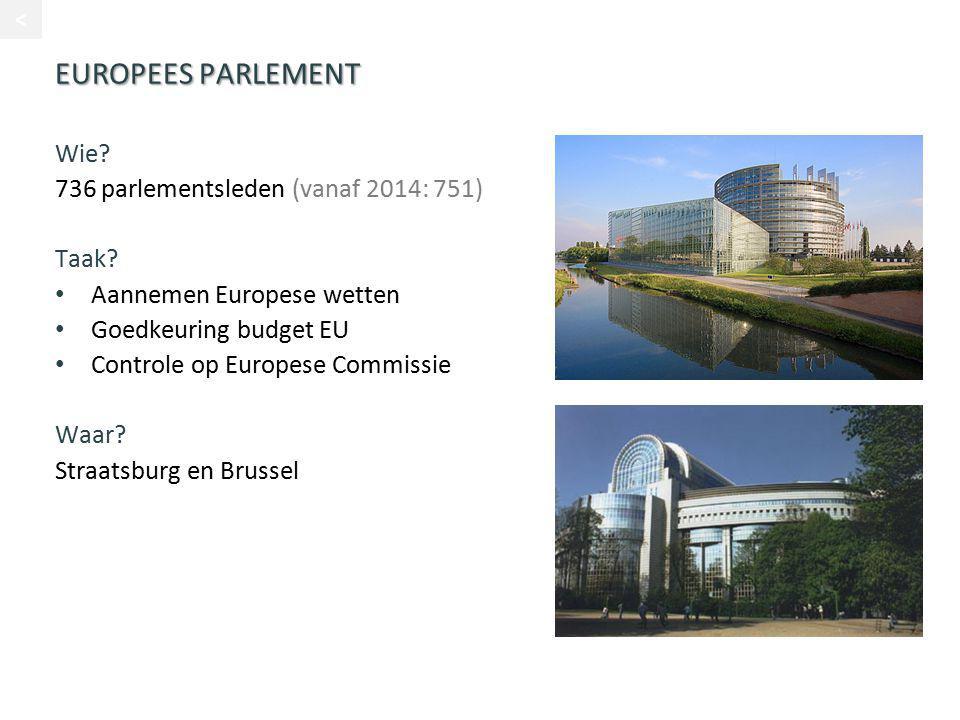 EUROPEES PARLEMENT Wie? 736 parlementsleden (vanaf 2014: 751) Taak? Aannemen Europese wetten Goedkeuring budget EU Controle op Europese Commissie Waar