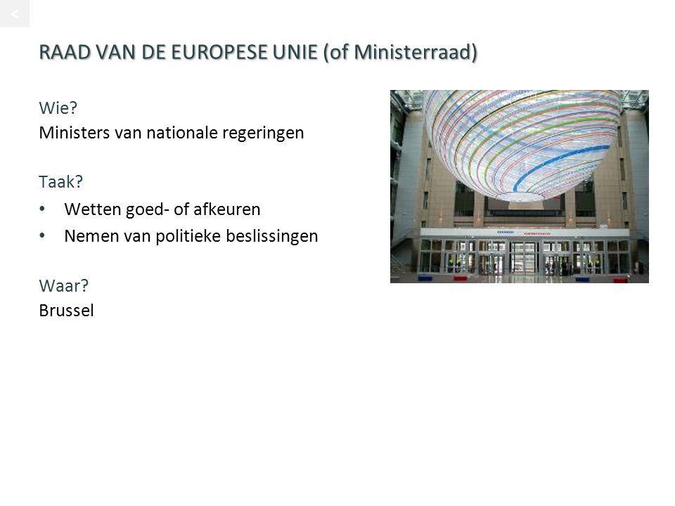 RAAD VAN DE EUROPESE UNIE (of Ministerraad) Wie? Ministers van nationale regeringen Taak? Wetten goed- of afkeuren Nemen van politieke beslissingen Wa