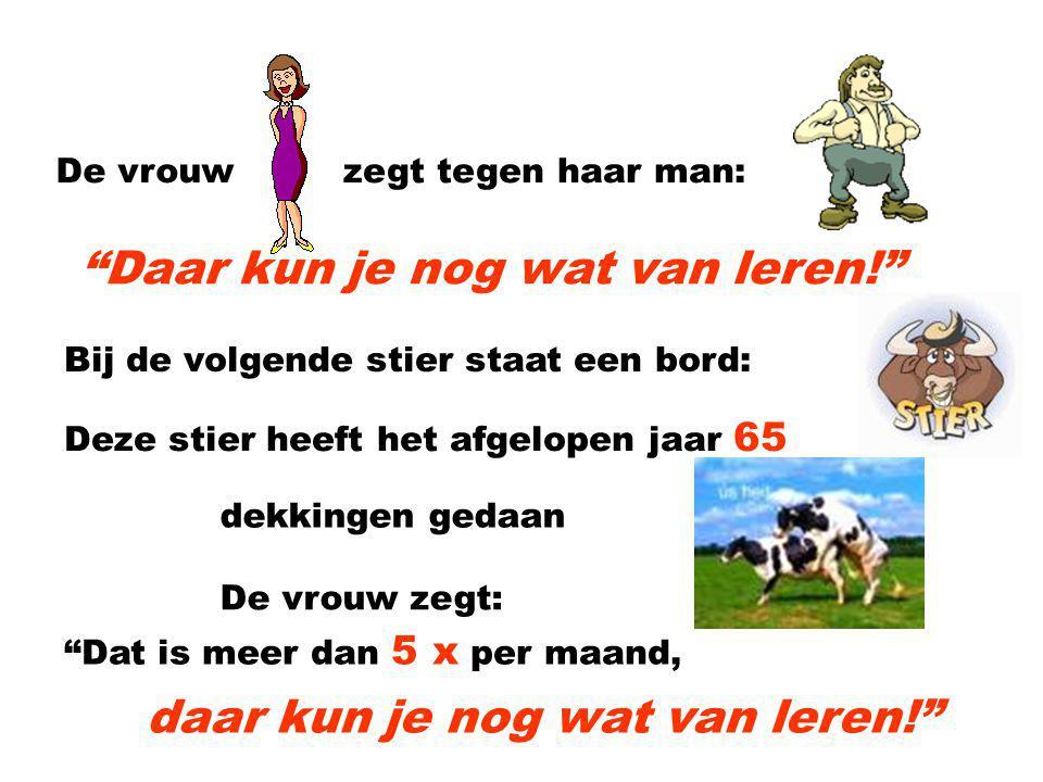 Op de veemarkt Een man en vrouw lopen op de veemarkt Ze komen bij de stieren en bij de 1e stier staat een bord: Deze stier heeft het afgelopen jaar 50 dekkingen gedaan!