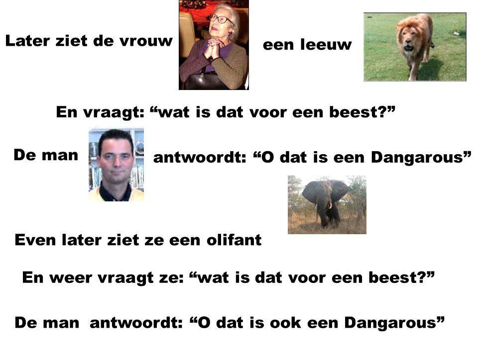 In het safaripark Een Belgische vrouw en een Belgische man lopen door een safaripark De vrouwziet een giraffe En vraagt: Wat is dat voor een beest? De manantwoordt: Dat is een Dangarou.