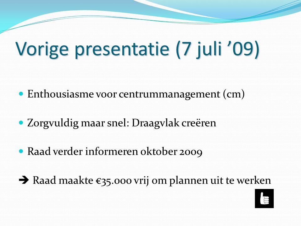 Vorige presentatie (7 juli '09) Enthousiasme voor centrummanagement (cm) Zorgvuldig maar snel: Draagvlak creëren Raad verder informeren oktober 2009 