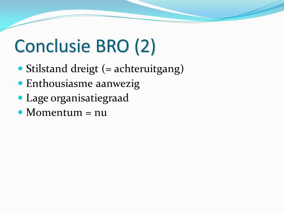 Conclusie BRO (2) Stilstand dreigt (= achteruitgang) Enthousiasme aanwezig Lage organisatiegraad Momentum = nu