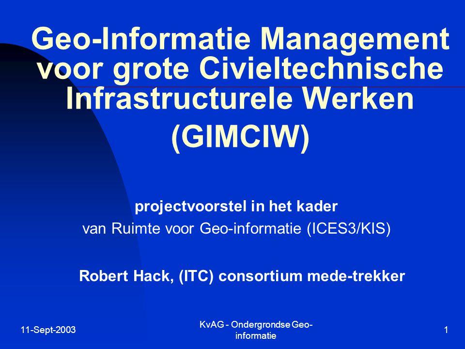 11-Sept-2003 KvAG - Ondergrondse Geo- informatie 1 Geo-Informatie Management voor grote Civieltechnische Infrastructurele Werken (GIMCIW) projectvoorstel in het kader van Ruimte voor Geo-informatie (ICES3/KIS) Robert Hack, (ITC) consortium mede-trekker