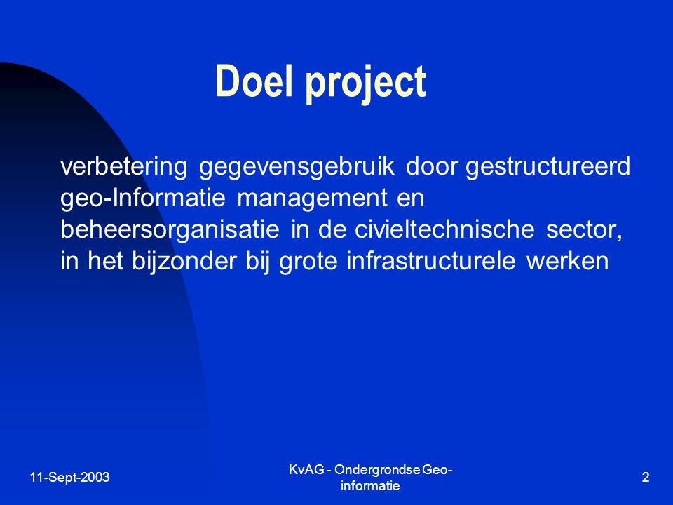 11-Sept-2003 KvAG - Ondergrondse Geo- informatie 2 Doel project verbetering gegevensgebruik door gestructureerd geo-Informatie management en beheersorganisatie in de civieltechnische sector, in het bijzonder bij grote infrastructurele werken