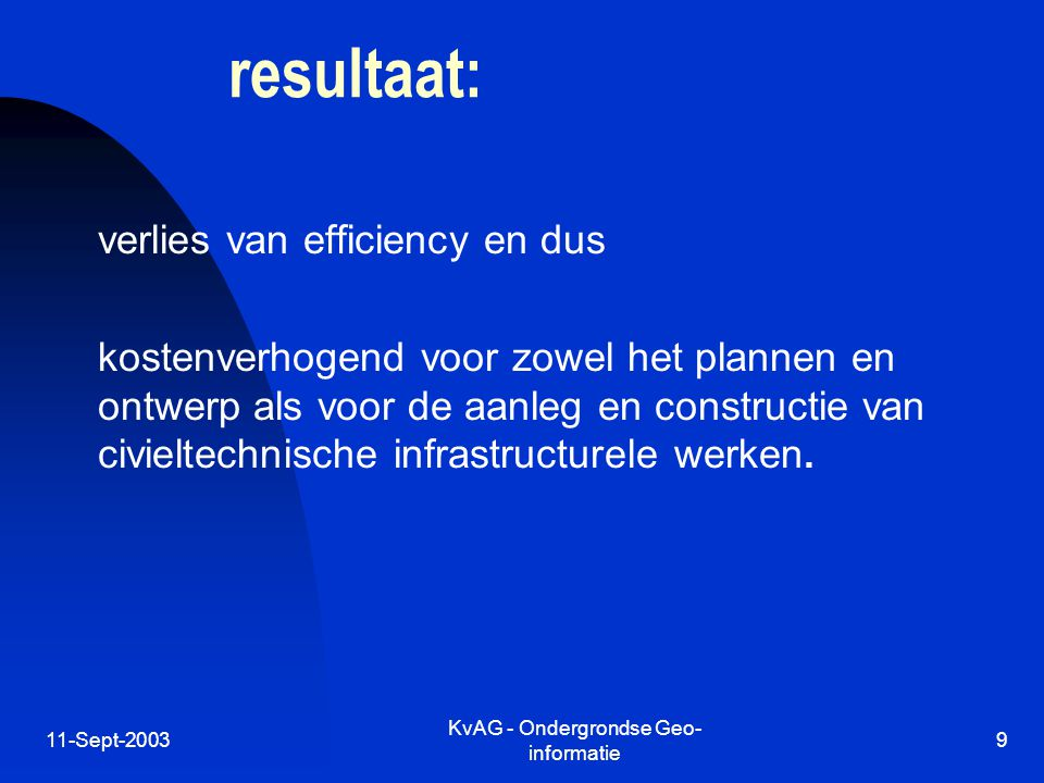 11-Sept-2003 KvAG - Ondergrondse Geo- informatie 9 resultaat: verlies van efficiency en dus kostenverhogend voor zowel het plannen en ontwerp als voor de aanleg en constructie van civieltechnische infrastructurele werken.