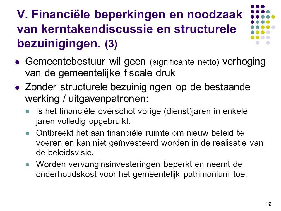19 V. Financiële beperkingen en noodzaak van kerntakendiscussie en structurele bezuinigingen. (3) Gemeentebestuur wil geen (significante netto) verhog