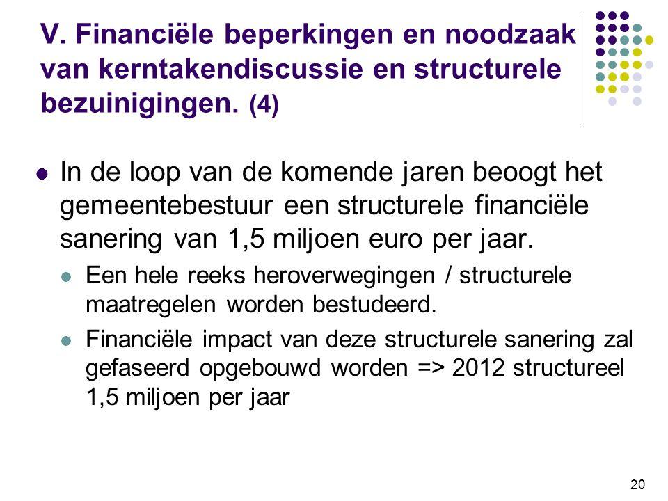 20 V. Financiële beperkingen en noodzaak van kerntakendiscussie en structurele bezuinigingen. (4) In de loop van de komende jaren beoogt het gemeenteb