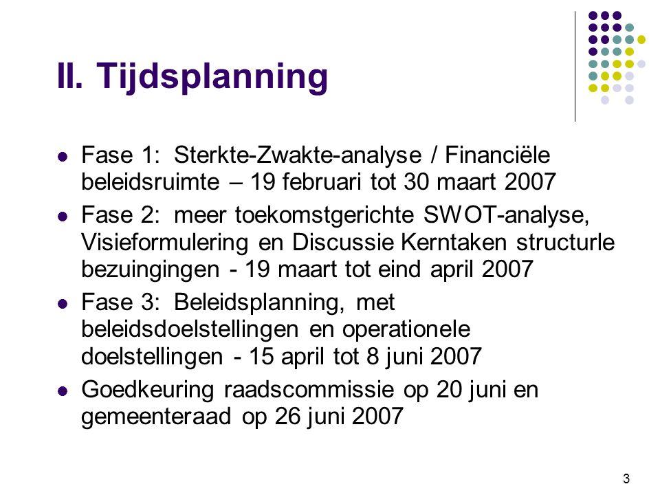 3 II. Tijdsplanning Fase 1: Sterkte-Zwakte-analyse / Financiële beleidsruimte – 19 februari tot 30 maart 2007 Fase 2: meer toekomstgerichte SWOT-analy