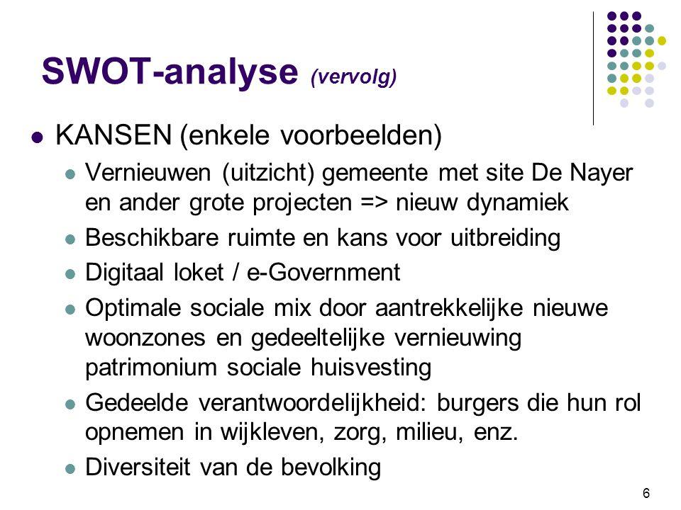 6 SWOT-analyse (vervolg) KANSEN (enkele voorbeelden) Vernieuwen (uitzicht) gemeente met site De Nayer en ander grote projecten => nieuw dynamiek Besch