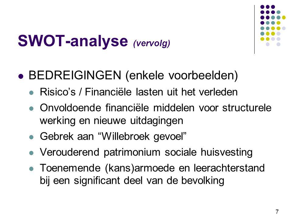 7 SWOT-analyse (vervolg) BEDREIGINGEN (enkele voorbeelden) Risico's / Financiële lasten uit het verleden Onvoldoende financiële middelen voor structur