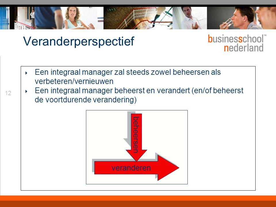 12 Veranderperspectief  Een integraal manager zal steeds zowel beheersen als verbeteren/vernieuwen  Een integraal manager beheerst en verandert (en/of beheerst de voortdurende verandering) veranderen beheersen