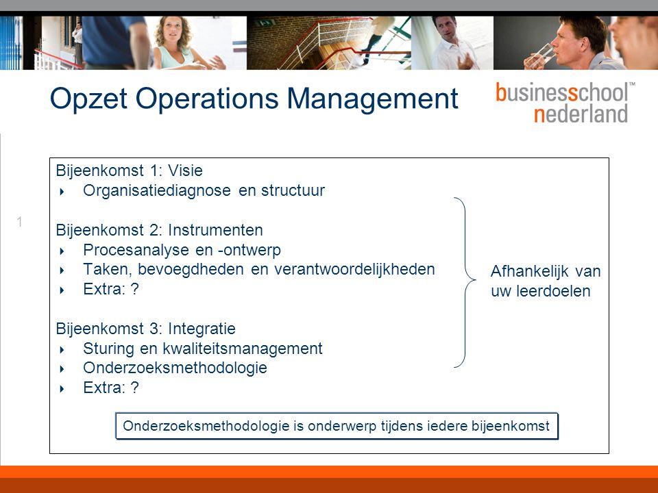 1 Opzet Operations Management Bijeenkomst 1: Visie  Organisatiediagnose en structuur Bijeenkomst 2: Instrumenten  Procesanalyse en -ontwerp  Taken, bevoegdheden en verantwoordelijkheden  Extra: .