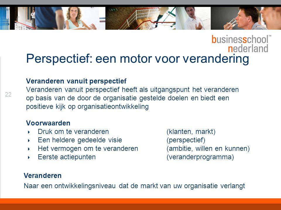 22 Perspectief: een motor voor verandering Veranderen vanuit perspectief Veranderen vanuit perspectief heeft als uitgangspunt het veranderen op basis van de door de organisatie gestelde doelen en biedt een positieve kijk op organisatieontwikkeling Voorwaarden  Druk om te veranderen (klanten, markt)  Een heldere gedeelde visie (perspectief)  Het vermogen om te veranderen (ambitie, willen en kunnen)  Eerste actiepunten(veranderprogramma) Veranderen Naar een ontwikkelingsniveau dat de markt van uw organisatie verlangt
