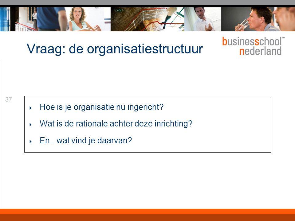 37 Vraag: de organisatiestructuur  Hoe is je organisatie nu ingericht.