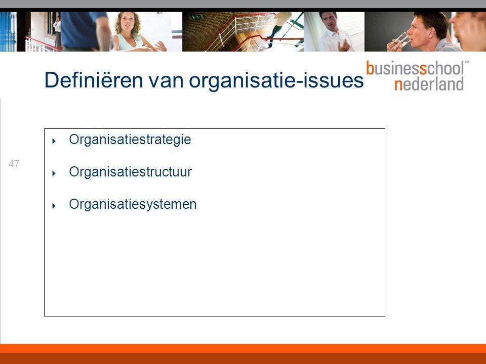 47 Definiëren van organisatie-issues  Organisatiestrategie  Organisatiestructuur  Organisatiesystemen
