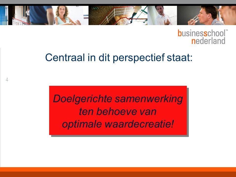 4 Centraal in dit perspectief staat: Doelgerichte samenwerking ten behoeve van optimale waardecreatie!