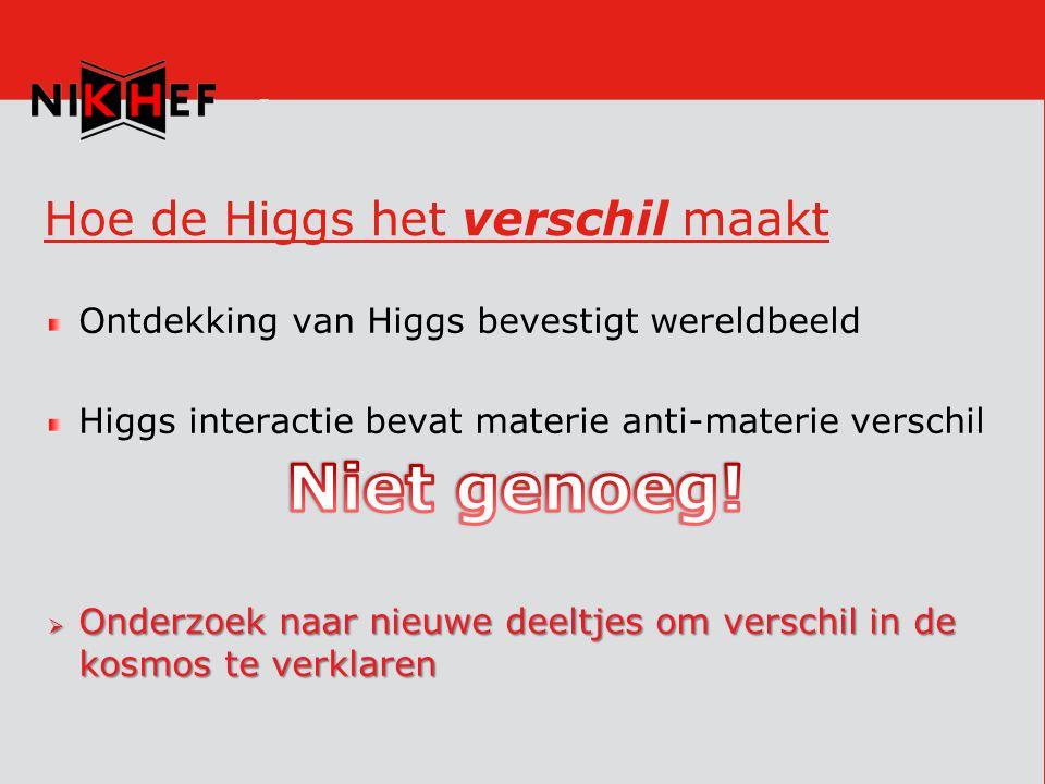 Hoe de Higgs het verschil maakt Ontdekking van Higgs bevestigt wereldbeeld Higgs interactie bevat materie anti-materie verschil  Onderzoek naar nieuwe deeltjes om verschil in de kosmos te verklaren