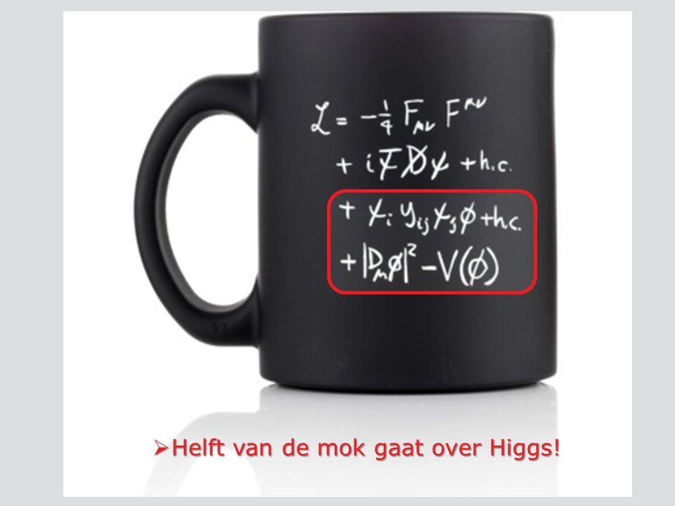  Helft van de mok gaat over Higgs!