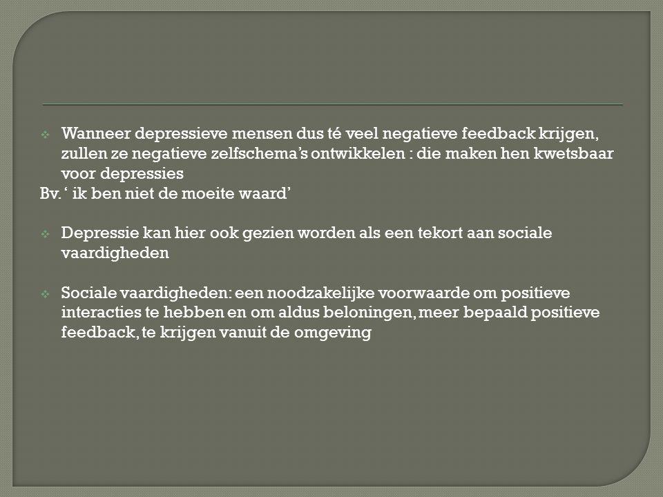  Het model van aangeleerde hulpeloosheid :  Stelling: een depressief individu heeft aangeleerde verwachtingen dat de externe gebeurtenissen grotendeels buiten zijn controle liggen en dat er waarschijnlijk onplezierige uitkomsten zijn  Wanneer een persoon faalt, attribueert hij dit aan een oorzaak  Deze oorzaak:  Stabiel of onstabiel  Intern of extern  Globaal of specifiek  De verwachting dat oncontroleerbare negatieve gebeurtenissen zullen voorkomen, kunnen leiden tot een depressie