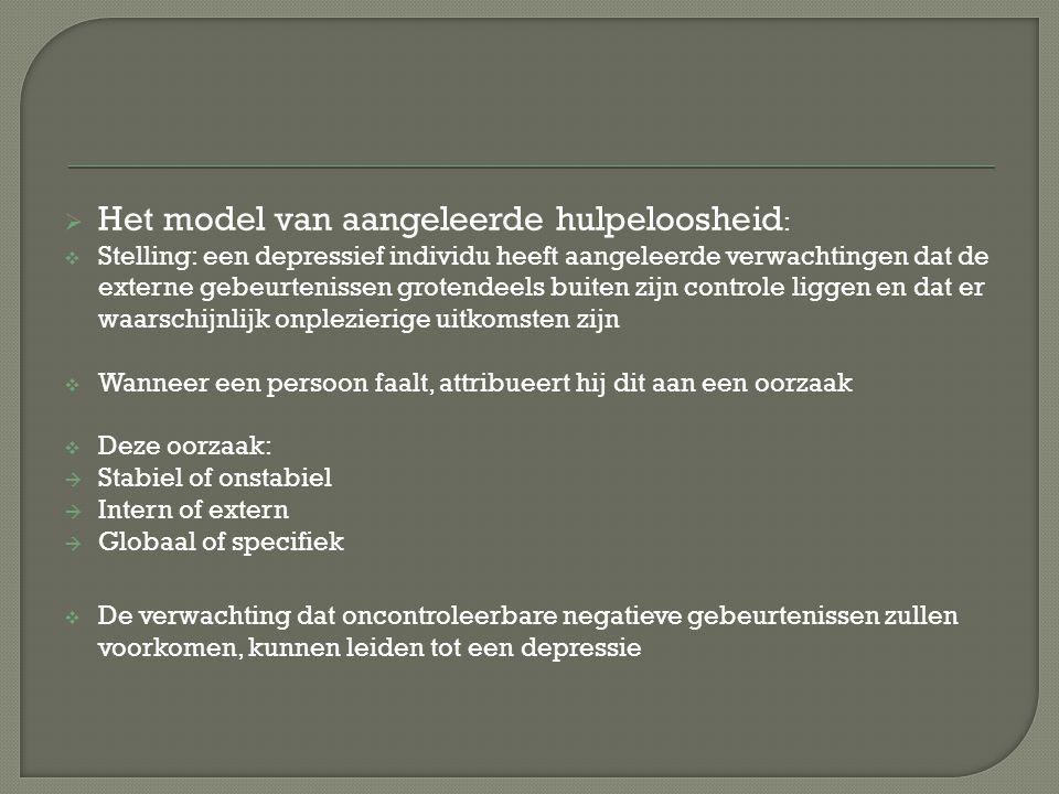 De hopeloosheidstheorie van depressie stelt dat een gevoel van hopeloosheid de relatie tussen attributiestijl en depressie medieert.