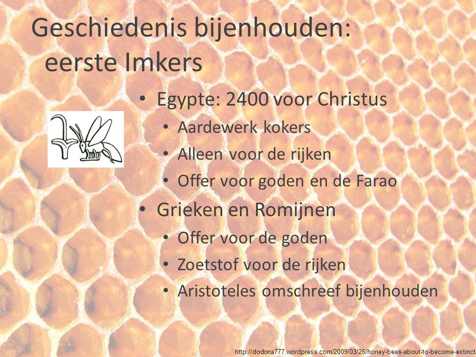 Geschiedenis bijenhouden: vroege bijenhouden Europa en Rusland Holtes in bomen of holle boomstammen (klos) Bijenkorf (bijenvolk kapot) http://www.beeclass.com/dts/briefhistory.htm http://www.biobees.com/british_beekeeping/british_beekeeping.htm l