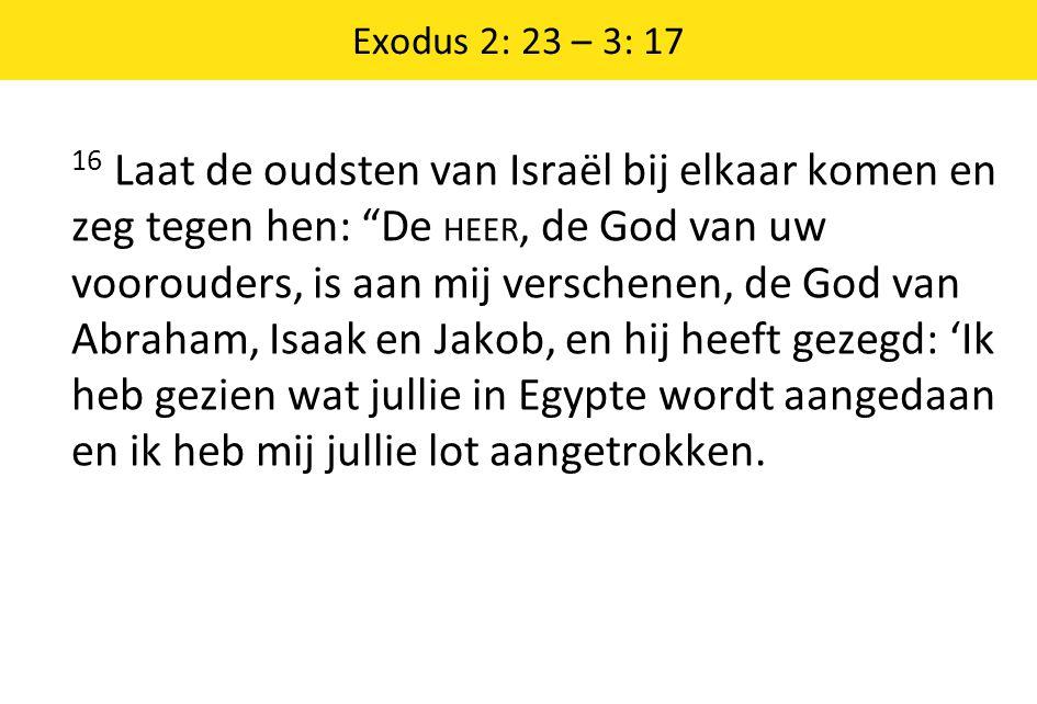 """Exodus 2: 23 – 3: 17 16 Laat de oudsten van Israël bij elkaar komen en zeg tegen hen: """"De HEER, de God van uw voorouders, is aan mij verschenen, de Go"""