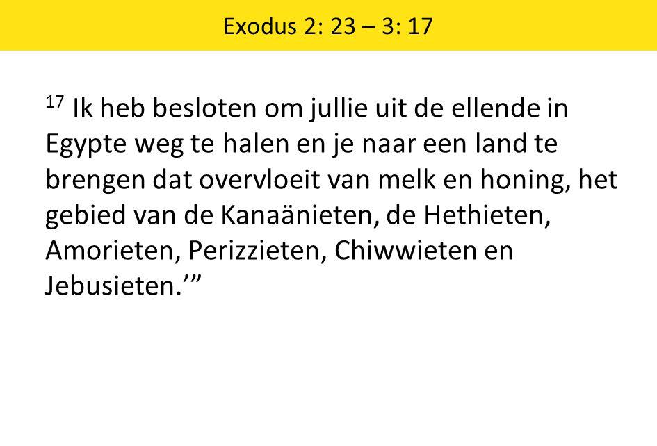 Exodus 2: 23 – 3: 17 17 Ik heb besloten om jullie uit de ellende in Egypte weg te halen en je naar een land te brengen dat overvloeit van melk en honi