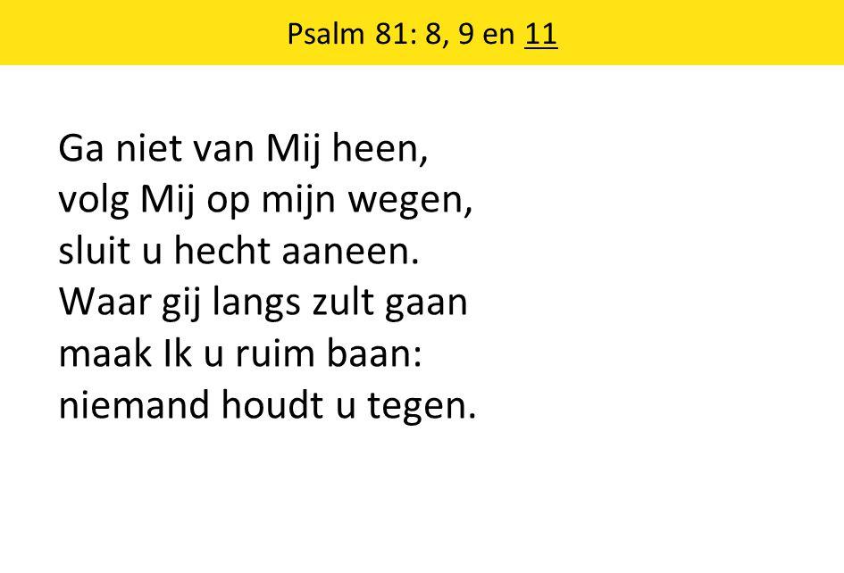 Psalm 81: 8, 9 en 11 Ga niet van Mij heen, volg Mij op mijn wegen, sluit u hecht aaneen. Waar gij langs zult gaan maak Ik u ruim baan: niemand houdt u