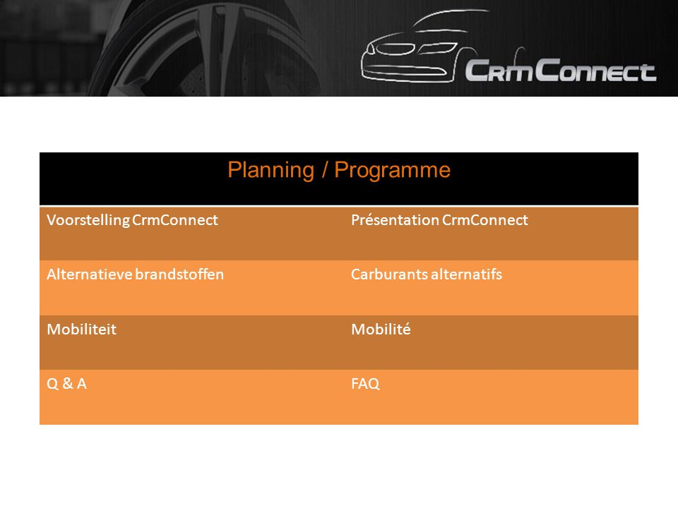Planning / Programme Voorstelling CrmConnectPrésentation CrmConnect Alternatieve brandstoffenCarburants alternatifs MobiliteitMobilité Q & AFAQ