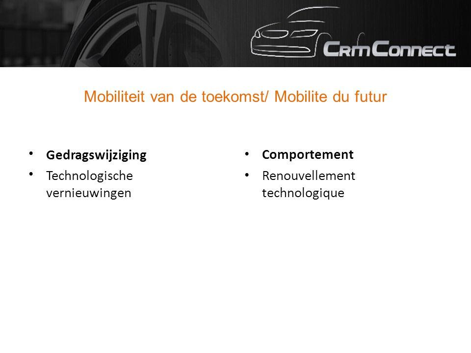 Mobiliteit van de toekomst/ Mobilite du futur Gedragswijziging Technologische vernieuwingen Comportement Renouvellement technologique