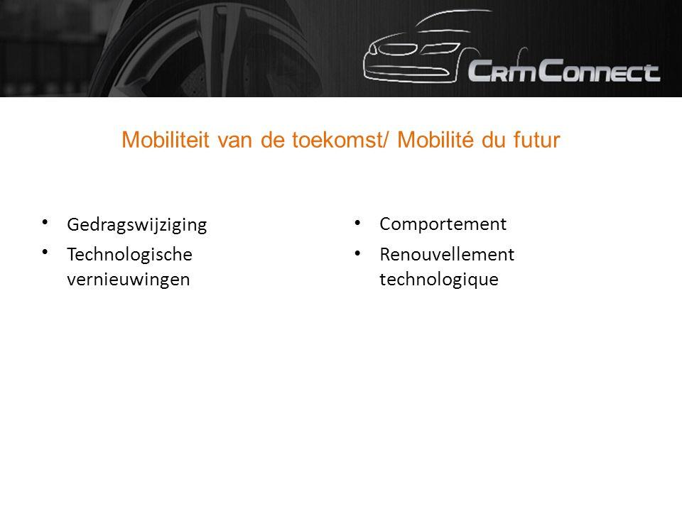 Mobiliteit van de toekomst/ Mobilité du futur Gedragswijziging Technologische vernieuwingen Comportement Renouvellement technologique