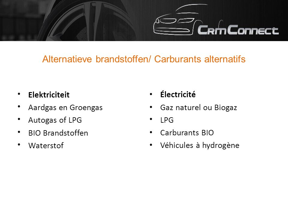 Alternatieve brandstoffen/ Carburants alternatifs Elektriciteit Aardgas en Groengas Autogas of LPG BIO Brandstoffen Waterstof Électricité Gaz naturel