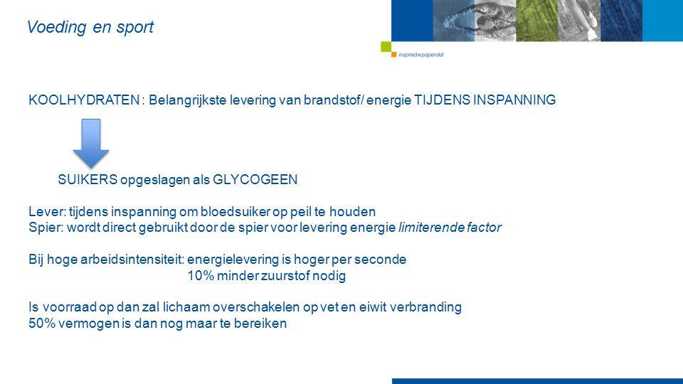 Voeding en sport KOOLHYDRATEN : Belangrijkste levering van brandstof/ energie TIJDENS INSPANNING SUIKERS opgeslagen als GLYCOGEEN Lever: tijdens inspa