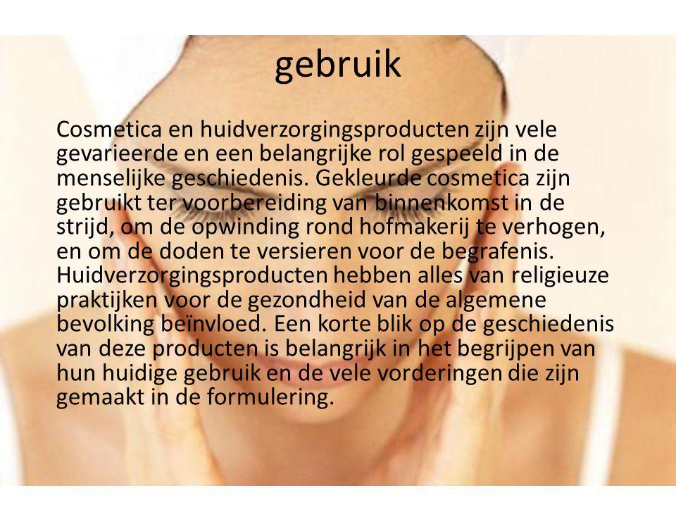 gebruik Cosmetica en huidverzorgingsproducten zijn vele gevarieerde en een belangrijke rol gespeeld in de menselijke geschiedenis. Gekleurde cosmetica