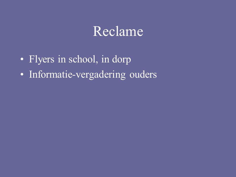 Reclame Flyers in school, in dorp Informatie-vergadering ouders