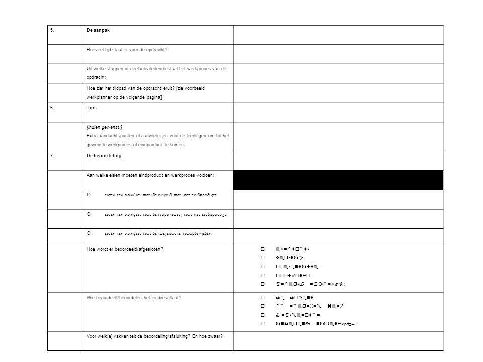 5. De aanpak Hoeveel tijd staat er voor de opdracht? Uit welke stappen of deelactiviteiten bestaat het werkproces van de opdracht: Hoe ziet het tijdpa
