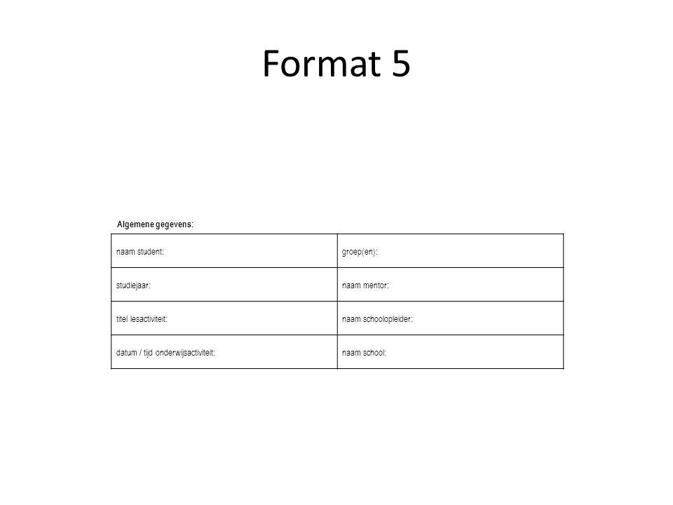 Format 5 naam student: groep(en): studiejaar: naam mentor: titel lesactiviteit: naam schoolopleider: datum / tijd onderwijsactiviteit: naam school: Al