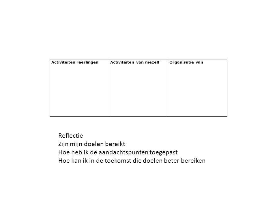 Activiteiten leerlingen Activiteiten van mezelf Organisatie van Reflectie Zijn mijn doelen bereikt Hoe heb ik de aandachtspunten toegepast Hoe kan ik