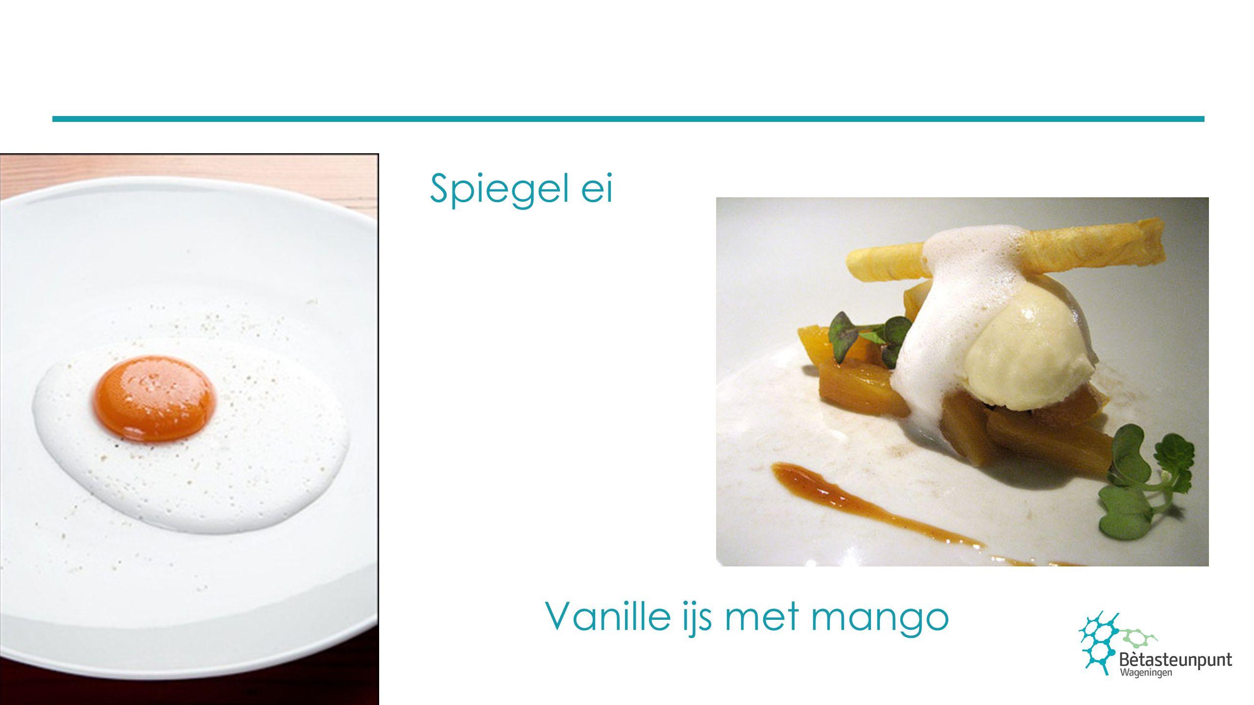 Spiegel ei Mango ravioli op een bedje van kokos Mango ravioli gemaakt met behulp van sferificatie Met alginaat en calcium Kokos gel is door het toevoegen van agar of carrageen